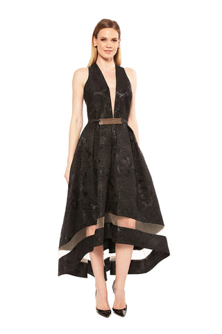 Nicole Bakti Crystal Embellished Sheer Side Dress