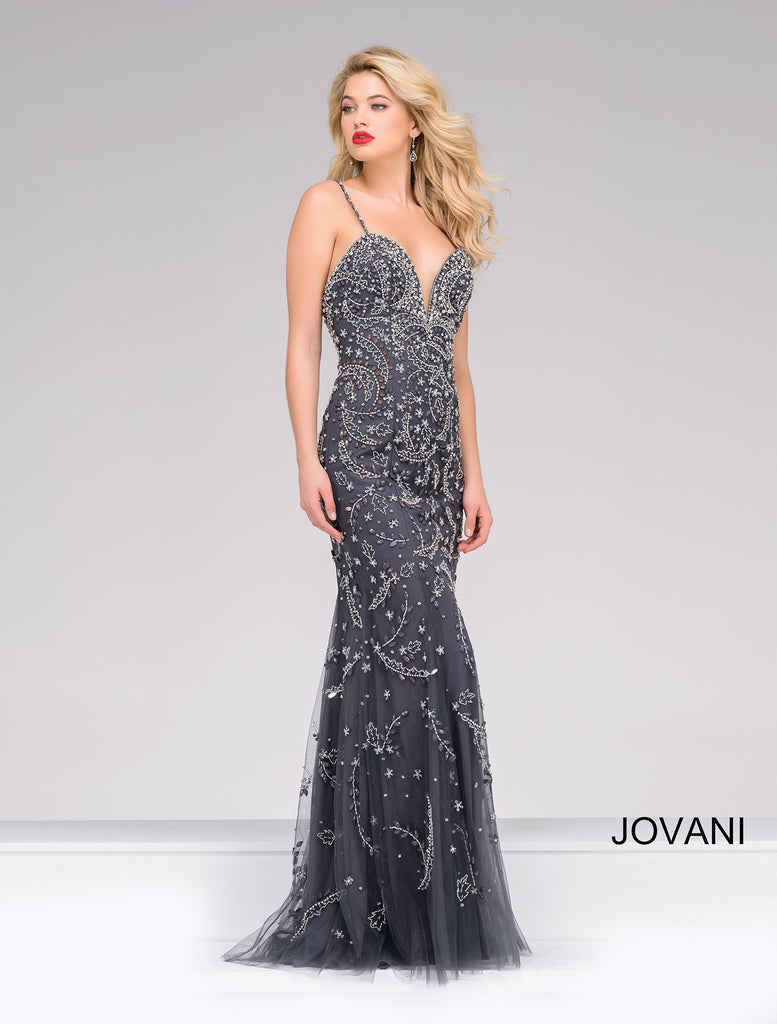 JOVANI 33704 SWEETHEART GUNMETAL PROM DRESS