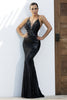 Allison Sequin Painted Black Platinum Couture Gown
