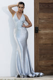 Andrea Painted Light Blue Baccio Couture Gown