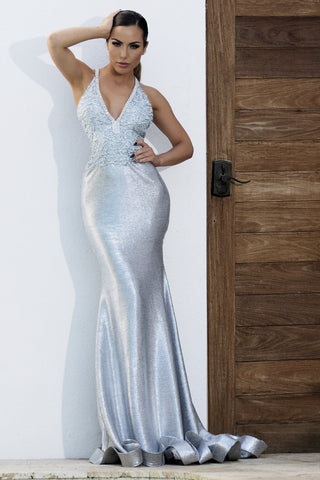 6962 NICOLE BAKTI V NECK SEQUIN JUMPSUIT