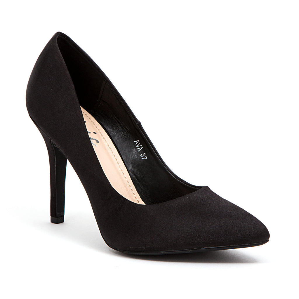 AVA SATIN BLACK LADY COUTURE SHOES