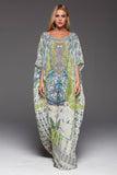 BIRDS OF PEACE CZARINA ROUND-NECK LONG KAFTAN