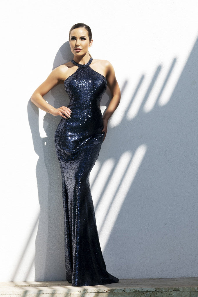 Briani Sequin Metallic Deep Blue Baccio Couture Gown