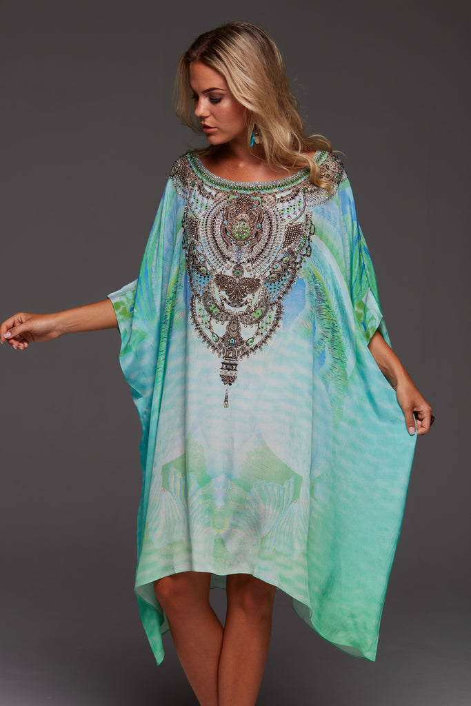 BY THE OCEAN CZARINA ROUND NECK SHORT KAFTAN