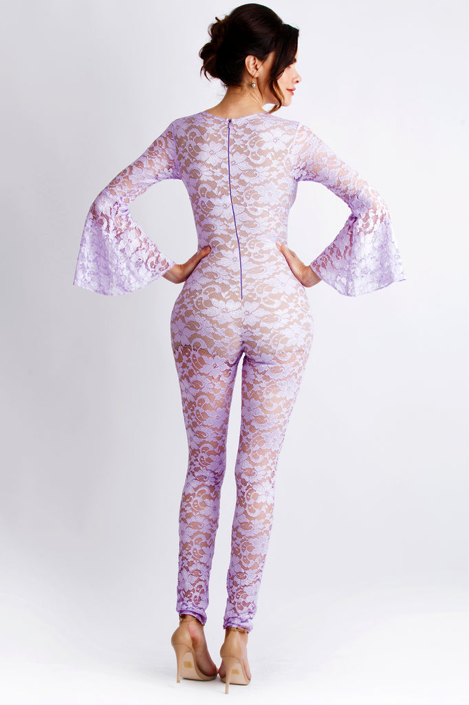 Betty Lilac Painted Baccio Couture Jumpsuit
