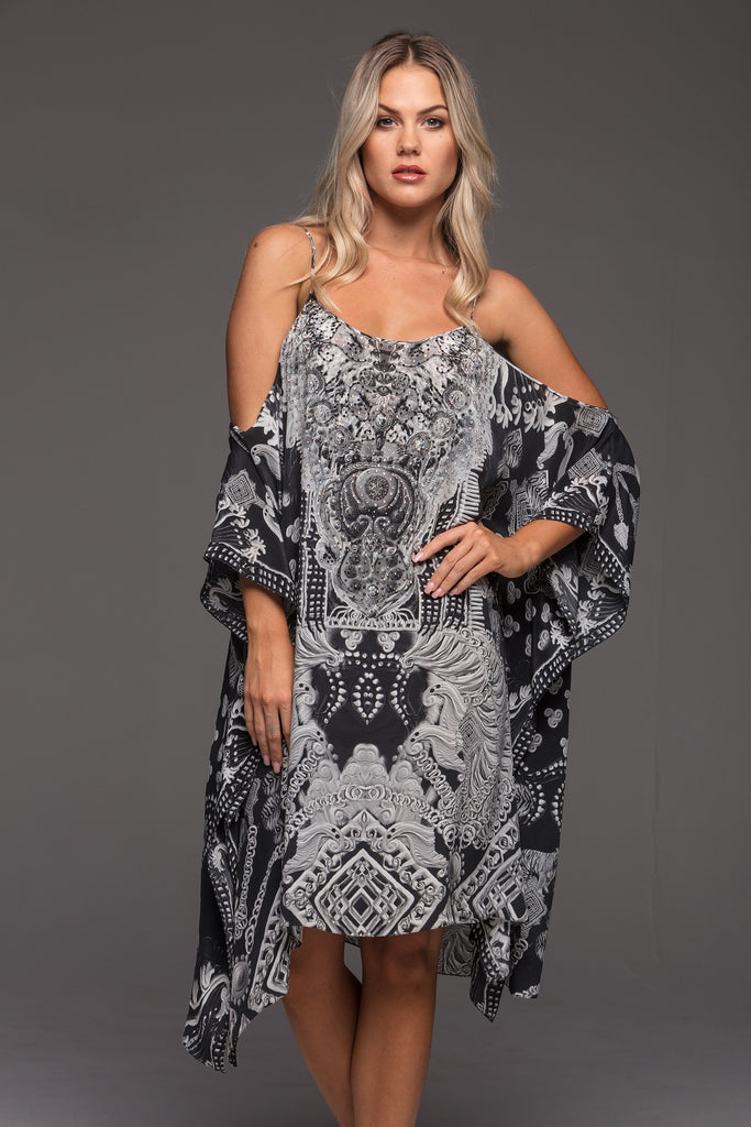 CLEOPATRA CZARINA COLD-SHOULDER SHORT KAFTAN