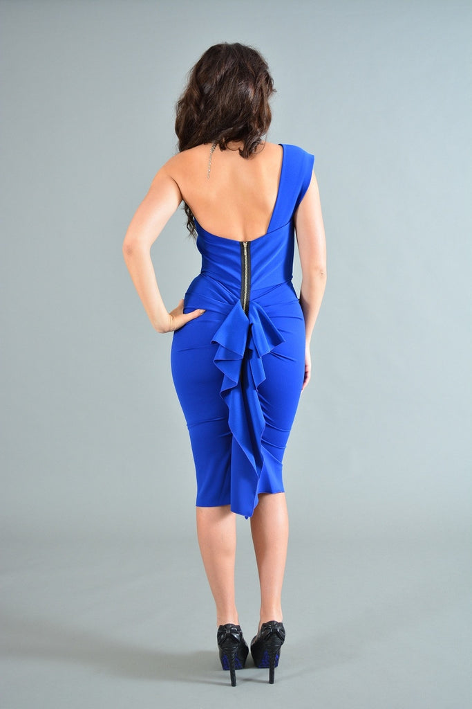 332 Royal Blue Short One Shoulder Nicole Bakti Dress