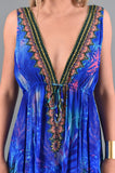 PP-213 Palm Blue Double Slit Parides Dress