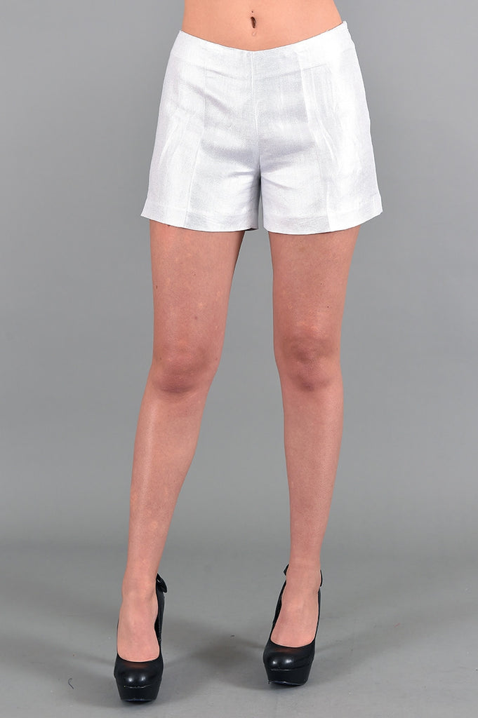 Metallic Beige with Silver Cotton Alberto Makali Shorts