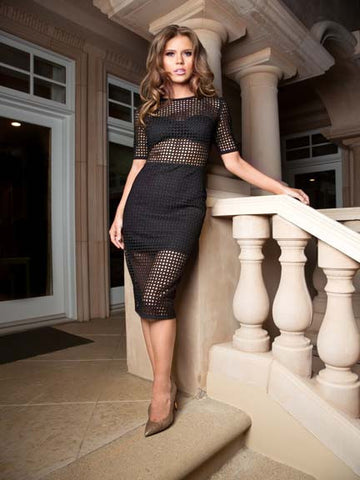 Nicole Bakti Sheer Side Cutout Short Dress