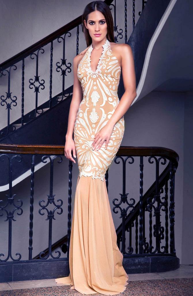 Ericka Painted Mesh Long Dress Baccio Couture