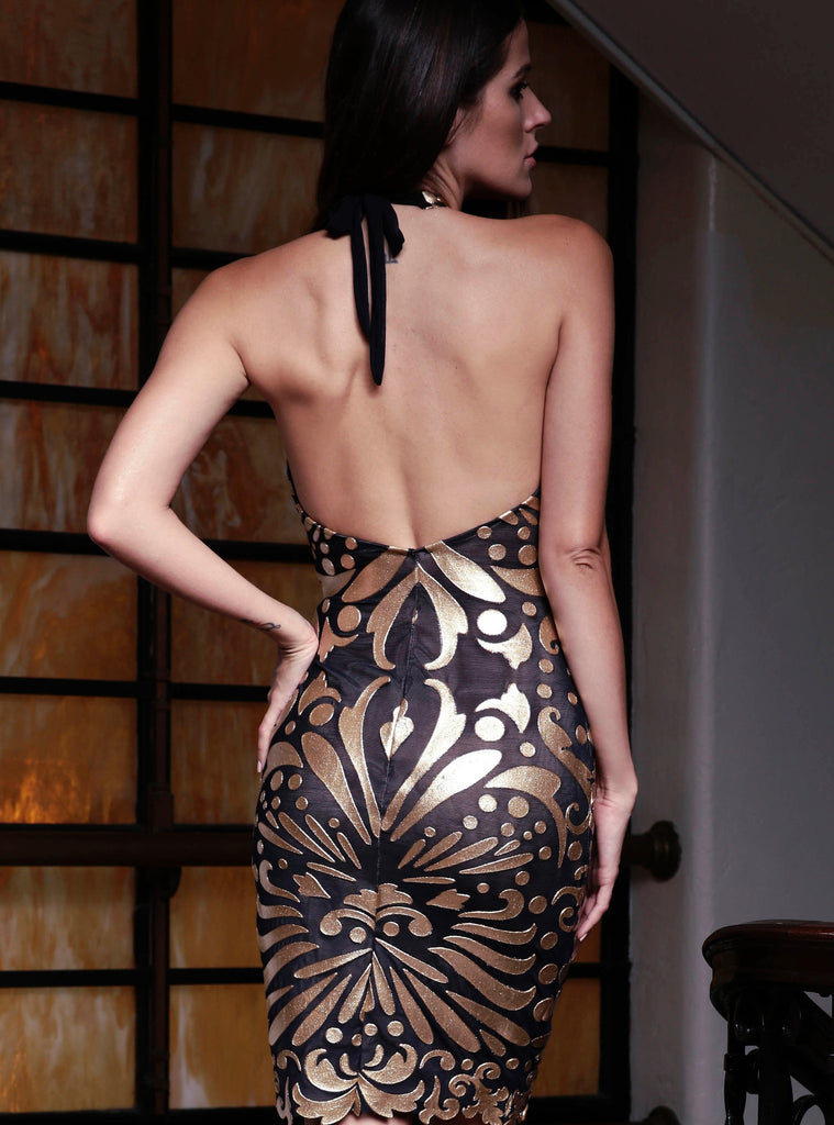 Ericka Painted Mesh Short Dress Baccio Couture