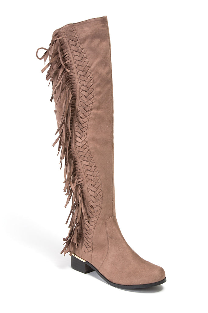 FRINGE TAUPE LADY COUTURE SHOES