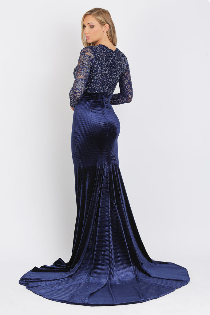 Frida Long Caviar Velvet Baccio Couture Gown