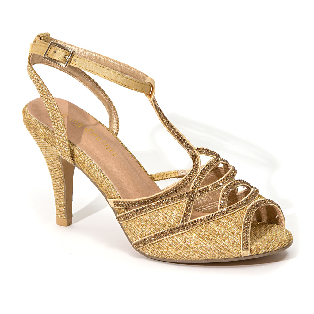 GLITTER GOLD LADY COUTURE SHOES