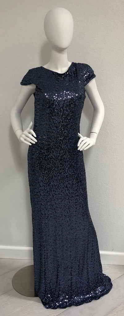 Badgley Mischka EG1588 Blue Gray Sequin Gown