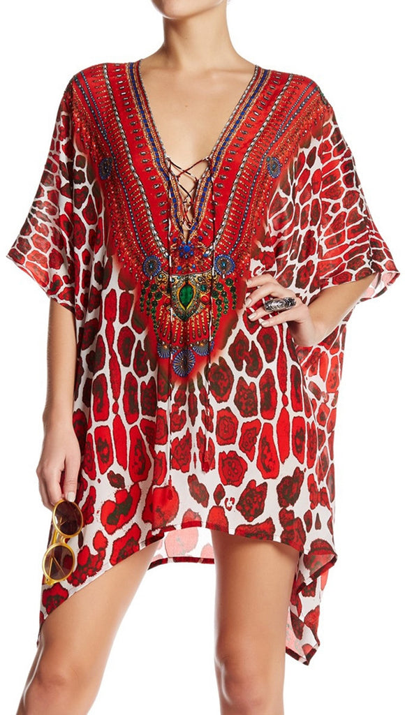Poinsettia Jaguar Shahida Parides 4 Way Medium Kaftan
