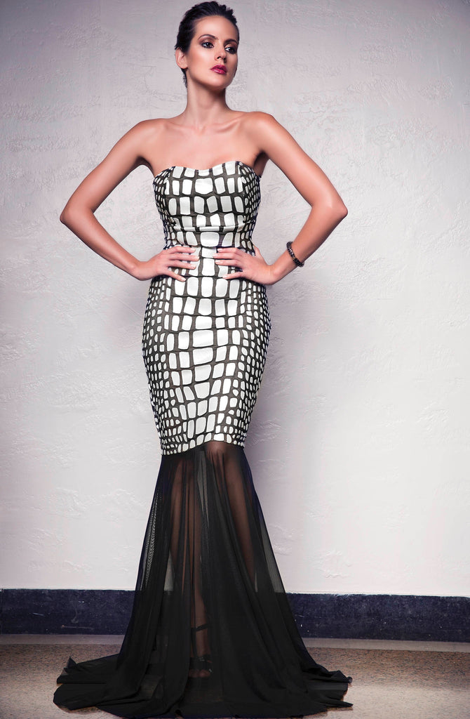 Julia Painted Mesh Long Dress Baccio Couture
