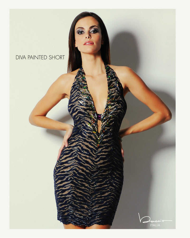 Diva Painted Short Dress Baccio Couture