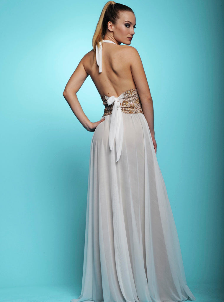 Karen White Mesh Long Painted Baccio Couture Dress