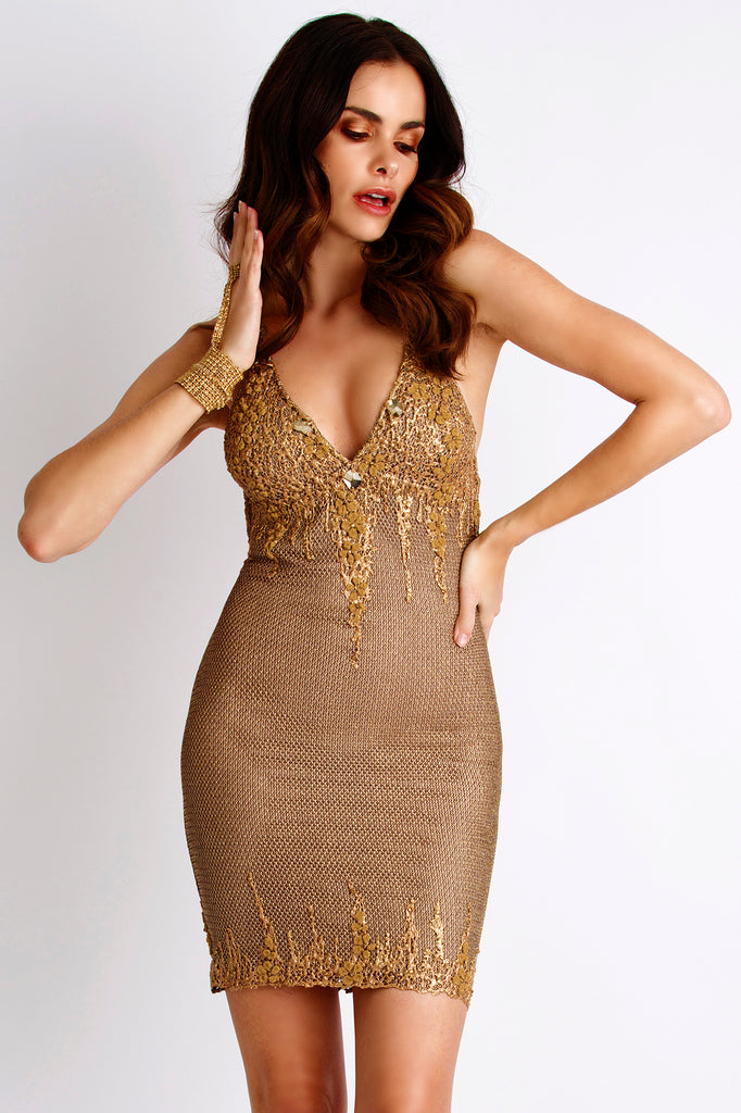 Kylie Metallic Painted Gold Baccio Couture Dress