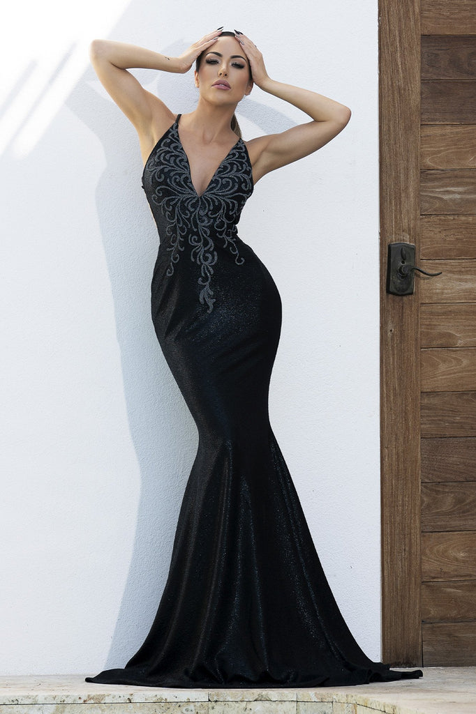 Luz Sequin Black Platinum Baccio Couture Gown