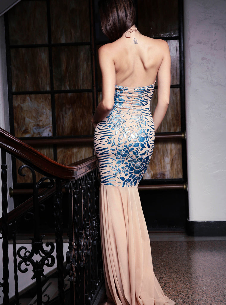 Lara Painted Mesh Long Dress Baccio Couture