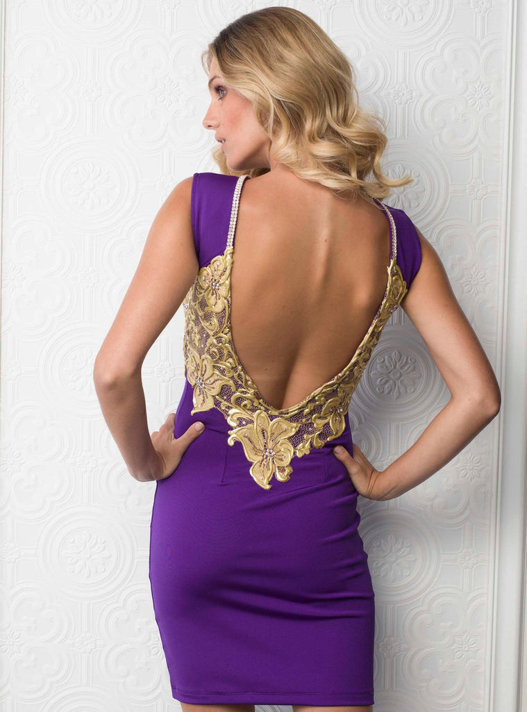 Lena Open Back Painted Baccio Couture Dress