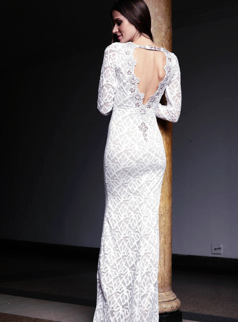 Letty Painted Lace Long Dress Baccio Couture