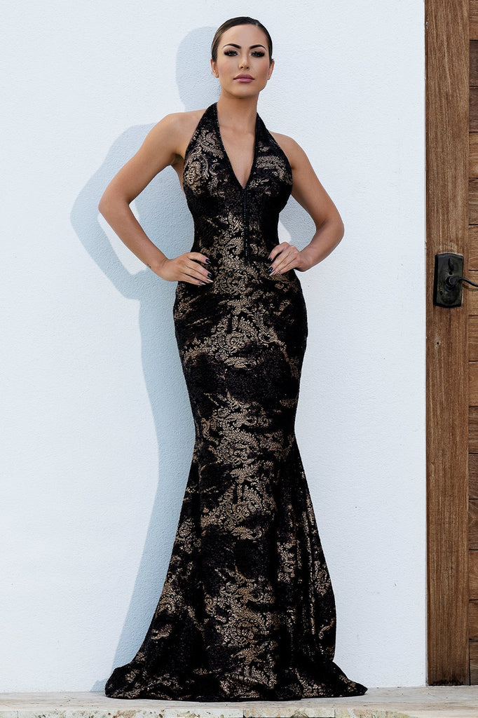 Lorena Crystal Black Gold Baccio Couture Gown