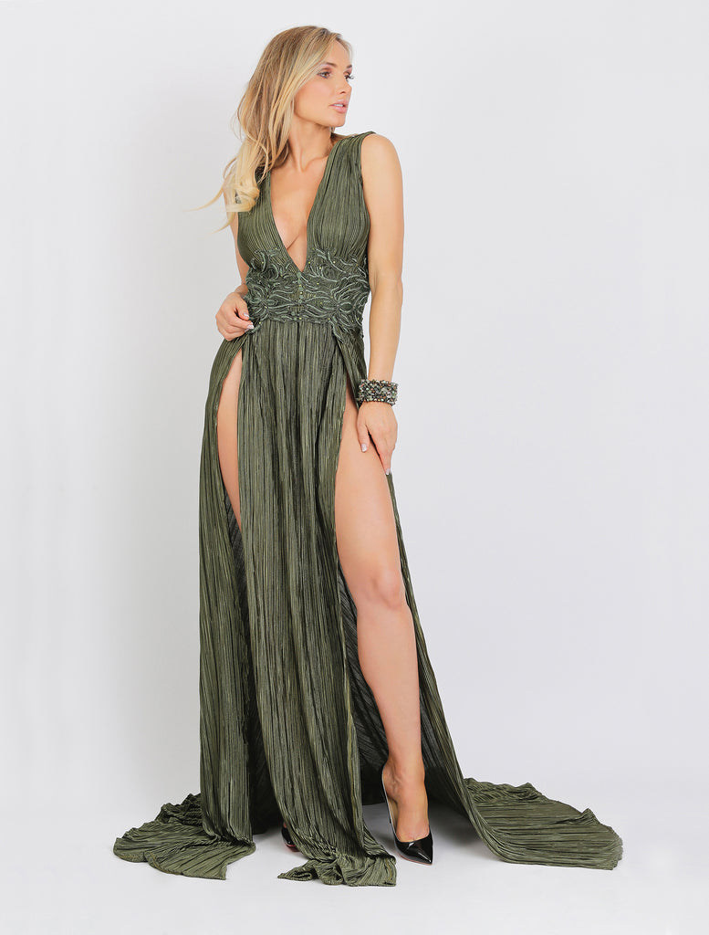 Luli Long Wrinkle Caviar Baccio Couture Gown