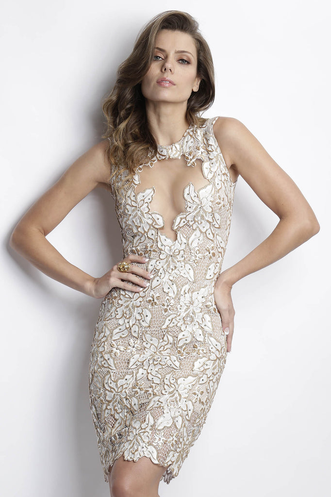 Adriana White Gold Painted Baccio Couture Dress