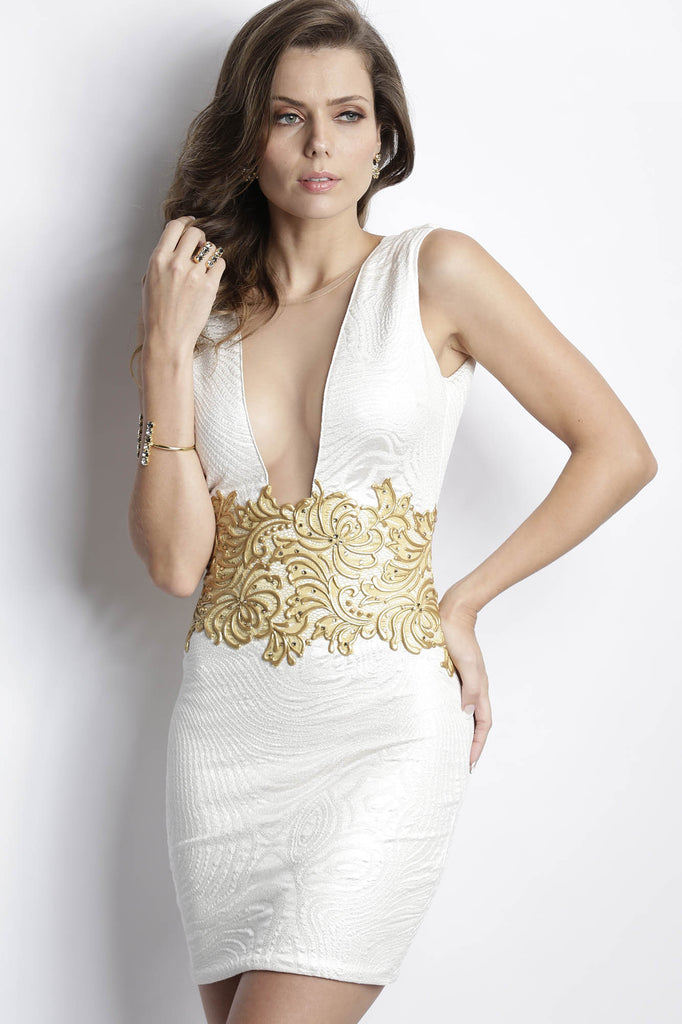 Katy Ivory Gold Baccio Couture Dress