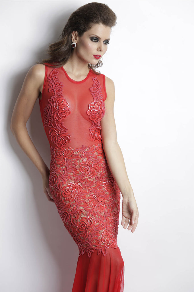 Damet Red Baccio Couture Gown