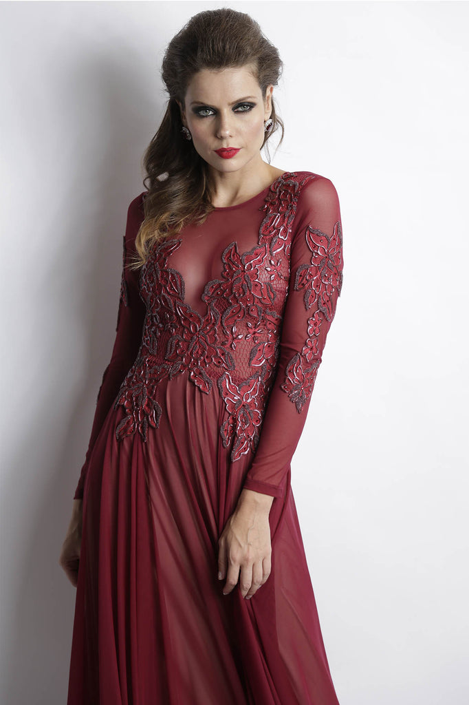 Roselyn Burgundy Baccio Couture Gown