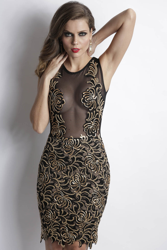 Damet Black Gold Baccio Couture Dress