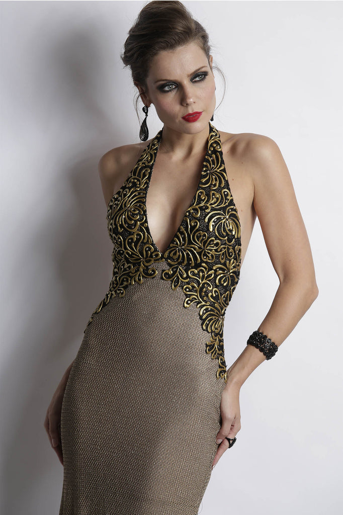 Rina Metallic Lace Bronze Baccio Couture Gown