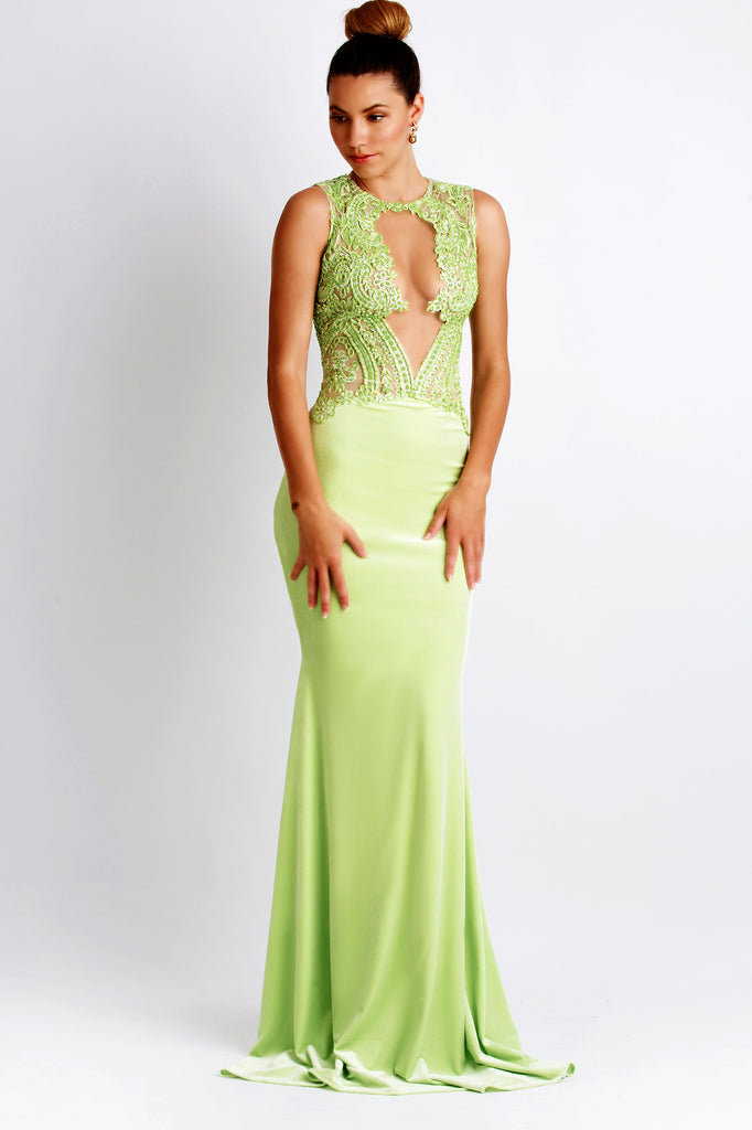 Luz Jersey Light Green Baccio Couture Gown