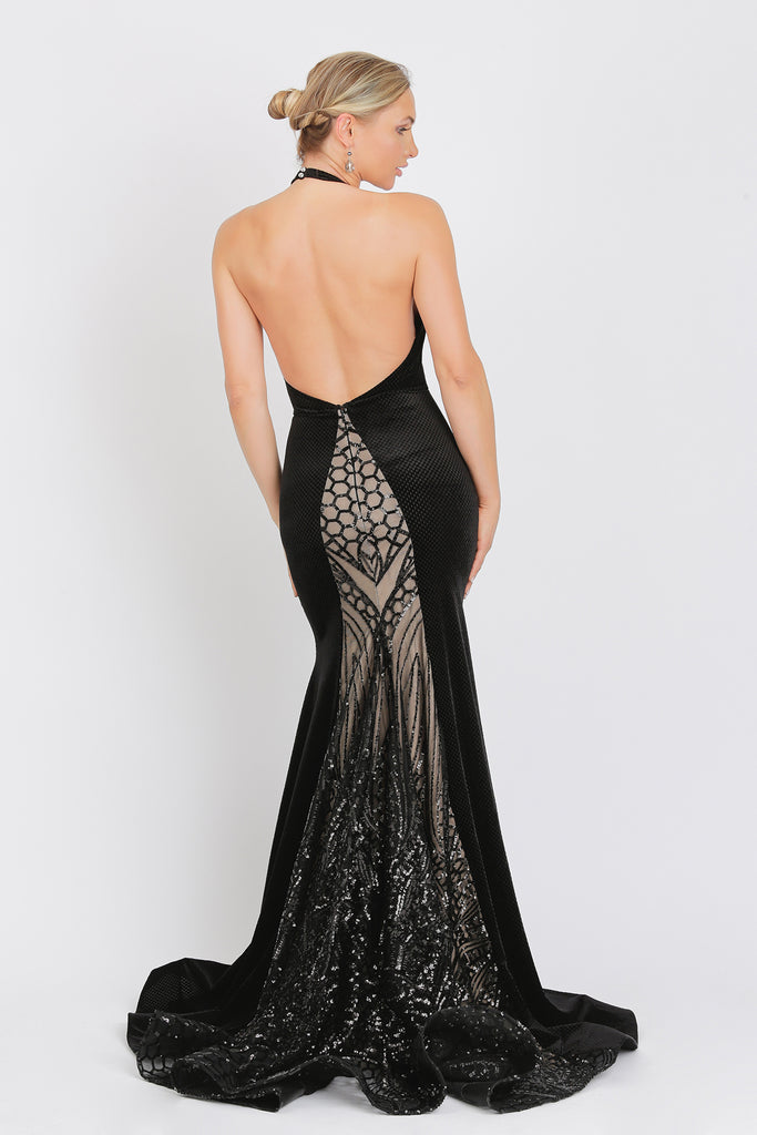 Maira Long Sequin Velvet Baccio Couture Dress