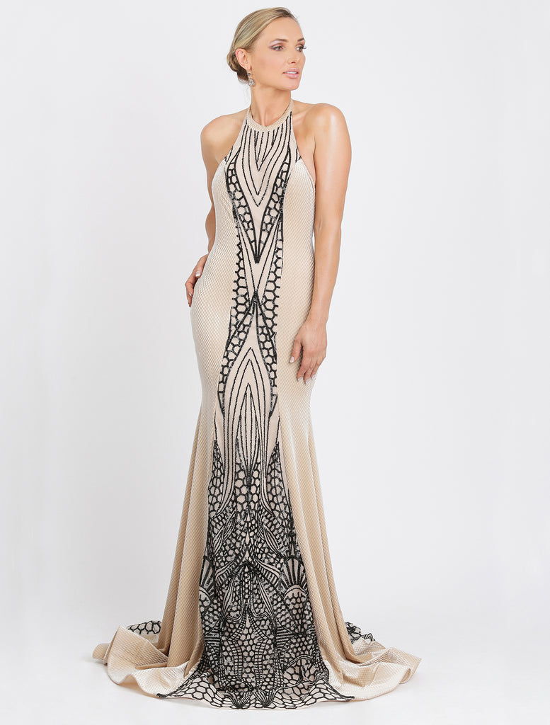 Maira Long Sequin Velvet Baccio Couture Gown