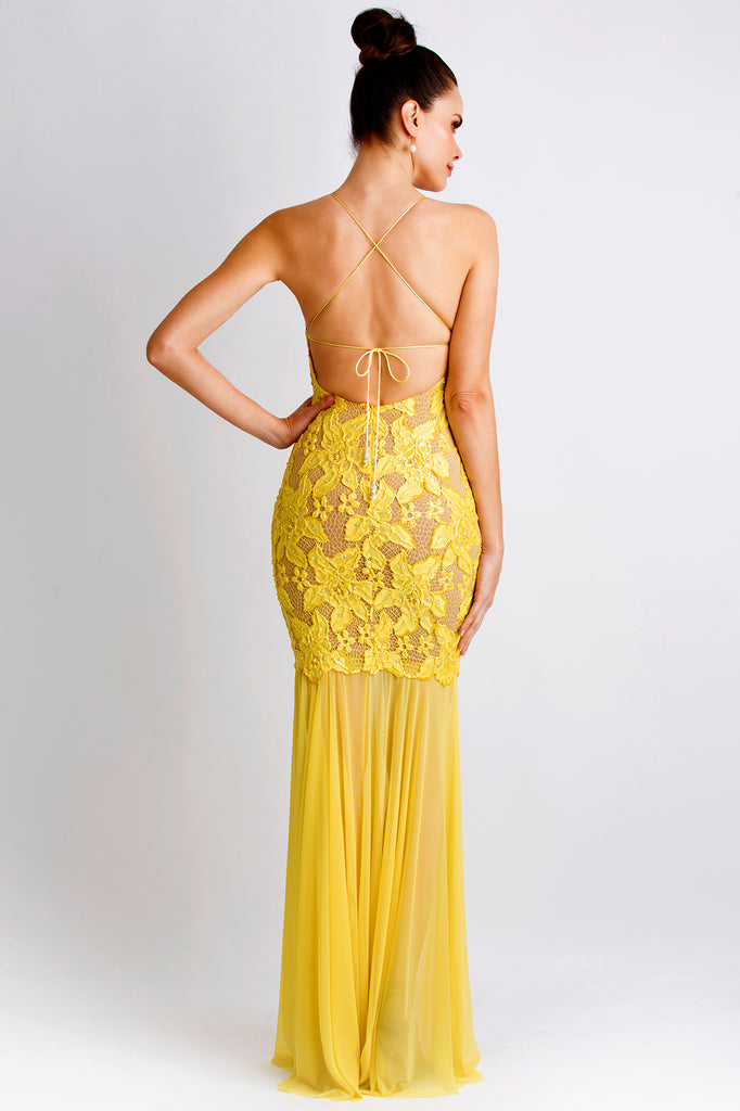 Maluz Painted Caviar Yellow Baccio Couture Gown