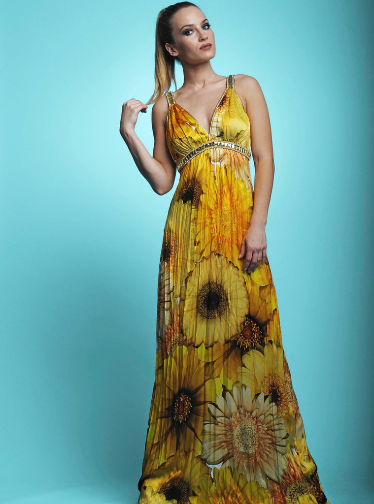 Marie Floral Yellow Baccio Couture Silk Dress
