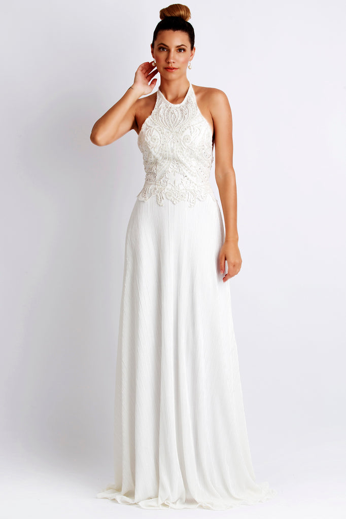 Marcella Painted Caviar White Baccio Couture Gown