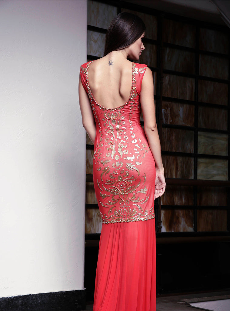 Melissa Painted Mesh Long Dress Baccio Couture