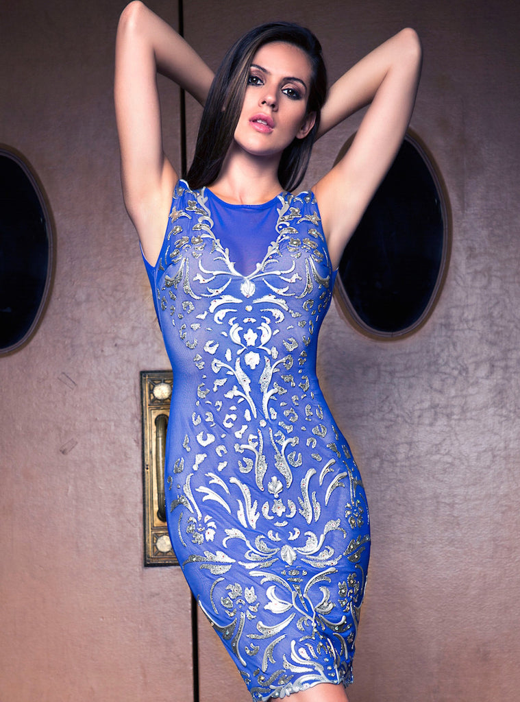 Melissa Painted Mesh Short Dress Baccio Couture