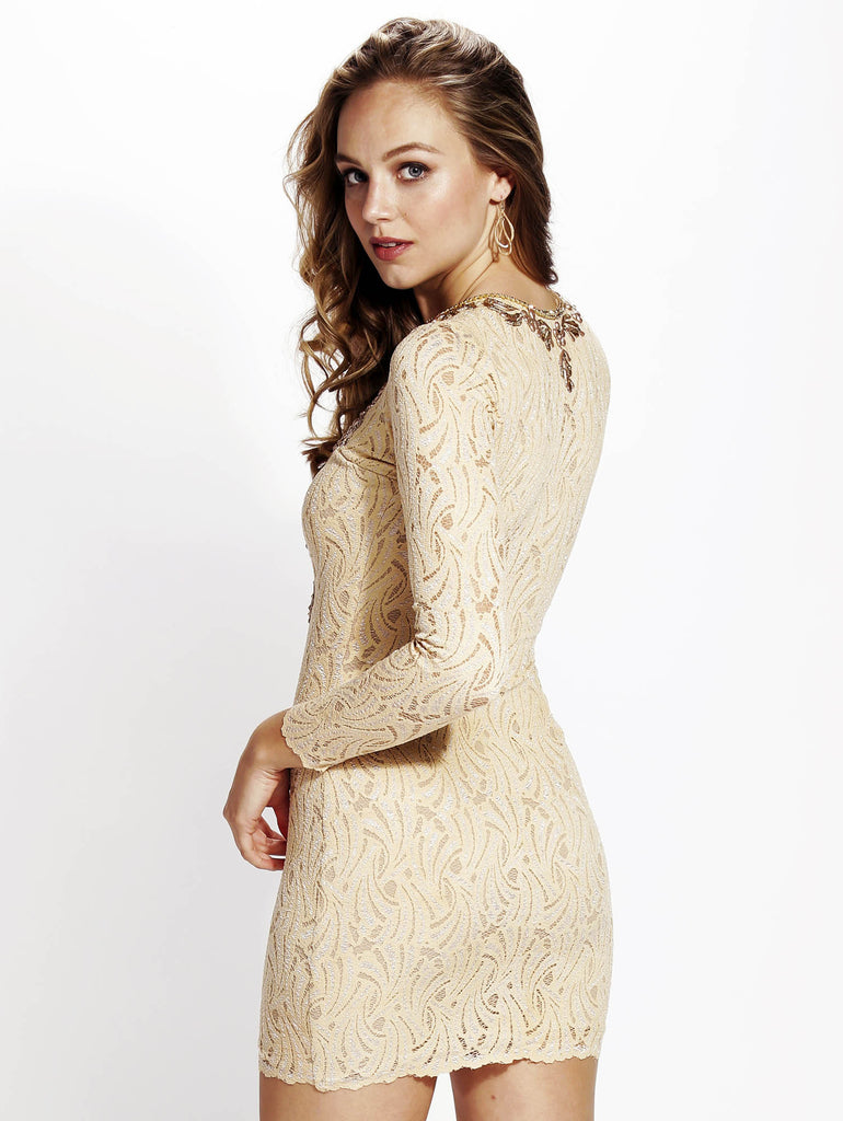 Hellen Nude Baccio Couture Lace Dress