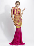 Liz Mesh Painted Long Baccio Couture Gown