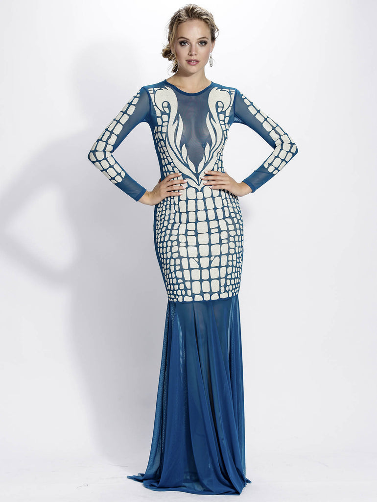 Milena Mesh Painted Long Baccio Couture Gown