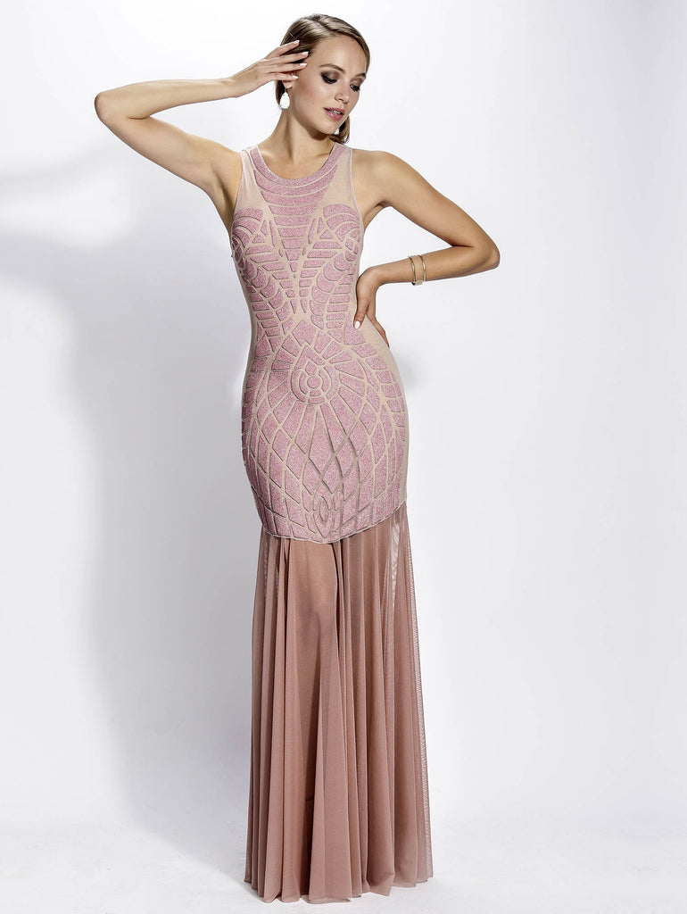 Pinar Mesh Painted Long Baccio Couture Gown